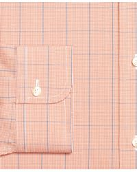 Brooks Brothers - Orange Non-iron Traditional Fit Houndstooth Overcheck Dress Shirt for Men - Lyst
