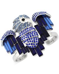 Vince Camuto | Silver-tone Blue Crystal Bird Cuff Bracelet | Lyst