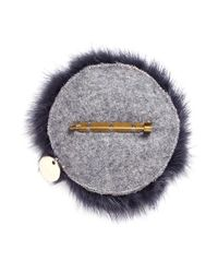 Yves Salomon | Purple Fox Face Fur Pin Badge | Lyst