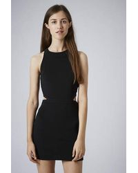 TOPSHOP - Black Side Cage Cut-Out Bodycon Dress - Lyst