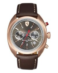 Scuderia Ferrari | Brown 'formula Sportiva' Chronograph Leather Strap Watch for Men | Lyst