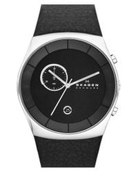 Skagen - Black 'havene' Chronograph Leather Strap Watch for Men - Lyst