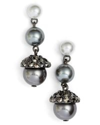 Anne Klein | Metallic Faux Pearl Triple Drop Earrings | Lyst