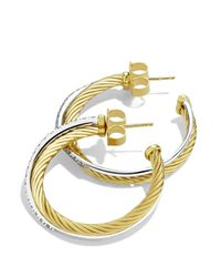 David Yurman - Yellow Crossover Medium Hoop Earrings With Diamonds In Gold - Lyst