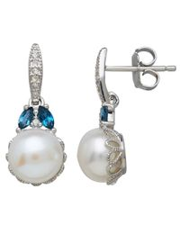 Lord & Taylor | Sterling Silver Freshwater Pearl Blue Topaz And White Topaz Earrings | Lyst