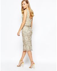 Frock and Frill | Metallic Heavy Embellished Sparkle 2 In 1 Midi Dress | Lyst