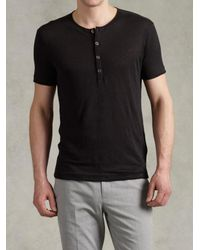 John Varvatos - Black Short Sleeve Front Placket Henley for Men - Lyst