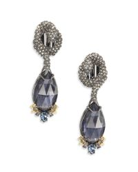 Alexis Bittar | Blue Elements Dark Alchemy Pyrite & Crystal Coiled Serpent Marquis Clip-on Drop Earrings | Lyst