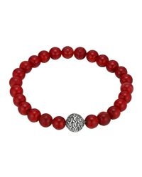 John Hardy | Red Large Coral Beaded Bracelet With Magnetic Clasp | Lyst