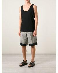 Kris Van Assche - Gray Contrasting Hem Check Shorts for Men - Lyst