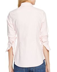 Polo Ralph Lauren   Pink Custom Fit Striped Shirt   Lyst