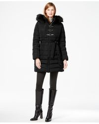 Ivanka Trump | Black Faux-fur-trim Buckled Puffer Coat | Lyst