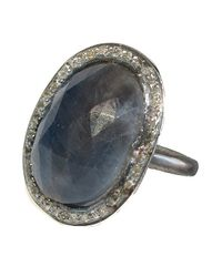 Adornia - Blue Gemstone And Champagne Diamond Perry Ring - Lyst
