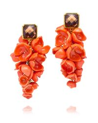 Tory Burch - Red Anais Grape Flower Earring - Lyst