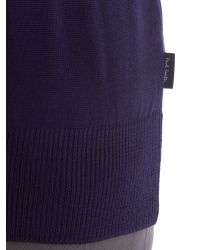 Paul Smith - Blue Triple Tip Collar Merino Knitted Jumper for Men - Lyst