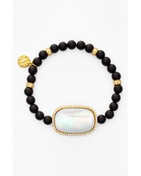 Freida Rothman - Black Station Onyx Bead Stretch Bracelet - Onyx/ Mother Of Pearl - Lyst