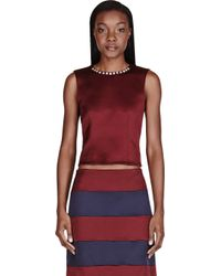 Marc Jacobs - Burgundy Red Crystal_embroidered Blouse - Lyst