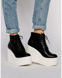 ASOS Black Editor Wedge Ankle Boots