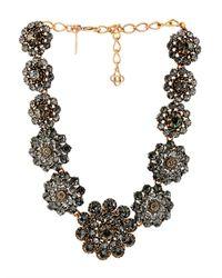 Oscar de la Renta - Metallic Embellished Floral Necklace - Lyst