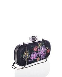 Marchesa - Black Lily Floral-Print Lizard Clutch Bag - Lyst