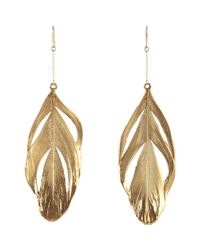 Aurelie Bidermann | Metallic Swan Feathers Drop Earrings | Lyst