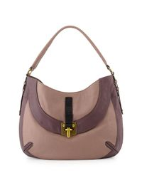 orYANY | Natural Bessie Colorblock Leather Hobo Bag | Lyst