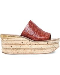 Chloé - Brown Helston Leather And Cork Platform Mules - Lyst