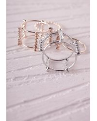 Missguided | Metallic Delicate Cut Out Stacking Rings | Lyst