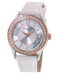 Kenneth Cole | White Crystal Bezel Leather Strap Watch | Lyst