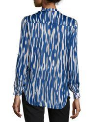 Nikkies Threads - Blue Printed Sheer-stripe Long-sleeve Tunic - Lyst