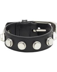 Saint Laurent | Black Studded Leather Bracelet | Lyst