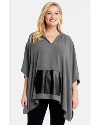 Karen Kane - Black Faux Leather Kangaroo Pocket Hooded Poncho - Lyst