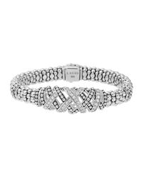 Lagos | Metallic Embrace Silver 3-station Diamond Bracelet | Lyst