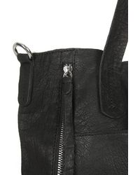 TOPSHOP | Black Slouchy Leather Shoulder Bag | Lyst