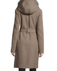Jason Wu - Gray Wool-twill Coat W/ Detachable Fur Hood - Lyst