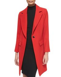 MILLY - Red Claudia Wool Snap-front Coat - Lyst