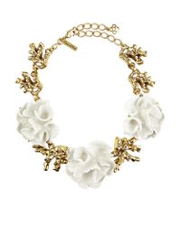 Oscar de la Renta - White Coral Cluster Necklace - Lyst