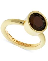 T Tahari | Brown Gold-tone Mixed Jewels Round Stone Ring | Lyst