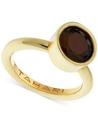 T Tahari | Brown Gold-tone Mixed Jewels Round Stone Ring | Lyst
