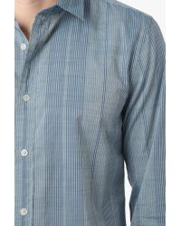 7 For All Mankind | Vertical Striped Shirt In Marine Blue for Men | Lyst