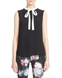 Ted Baker - Black 'olia' Bow Tie Crepe Top - Lyst
