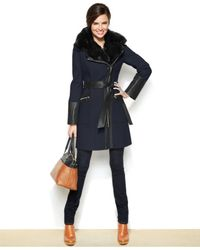 Via Spiga | Blue Faux-fur-trim Mixed-media Walker Coat | Lyst