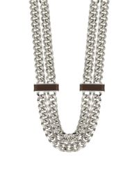 Lauren by Ralph Lauren | Metallic Two Row Leather And Curb Chain Necklace | Lyst