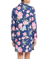 Lauren by Ralph Lauren | Blue Printed Long-sleeve Sleepshirt | Lyst