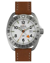 Shinola - White 'rambler' Dual Time Leather Strap Watch for Men - Lyst