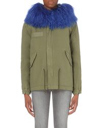Mr & Mrs Italy | Blue Shearling And Cotton-twill Army Parka Coat | Lyst