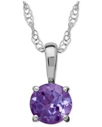 Macy's - Purple Amethyst Round Pendant Necklace In 14k White Gold (2/5 Ct. T.w.) - Lyst