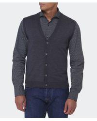 BOSS - Gray Merino Wool Medrick-d Waistcoat for Men - Lyst