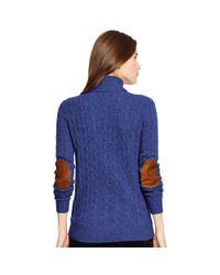 Polo Ralph Lauren - Purple Cabled Merino Wool Turtleneck - Lyst