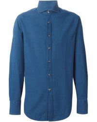 Brunello Cucinelli | Blue Denim Shirt for Men | Lyst